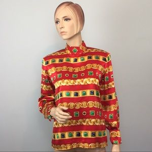 CARLISLE Red Gold Chain Link Jeweled Blouse 8
